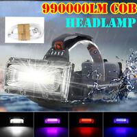 990000LM COB LED Lampe Frontale Rechargeable Phare Lampe de Poche Torche Lampe_