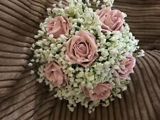Wedding Bridesmaids Posy Bouquet White Gypsophila And  Vintage Pink Roses