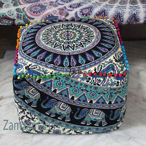 """18"""" Indian Vintage Ottoman Pouf Cover Multi Floral Square Footstool Seat Covers"""