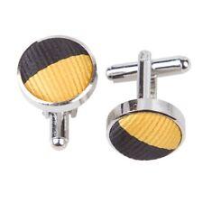 Striped Silver Plated Cufflinks- yellow-black