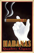 Habanas Quality Cigars by Steve Forney Vintage Travel Cuba Print Poster 28x18