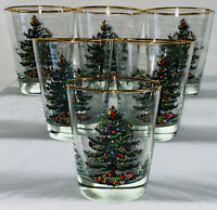"""6 Libbey Spode CHRISTMAS TREE *4 1/2"""" DOUBLE OLD FASHIONEDS*GOLD RIM*"""