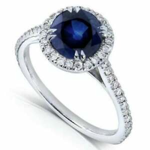 2.20Ct Round Cut Blue Sapphire Halo Diamond Engagement Ring in 14K White Gold