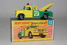 MATCHBOX SUPERFAST #13 DODGE WRECKER TOW TRUCK, BP OIL, EXCELLENT, BOXED