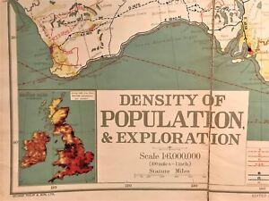 Original 1921 Philips' Comparative WALL Atlas ~ AUSTRALIA POPULATION ~ Map