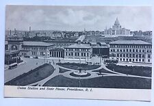 RI Postcard Union Station and State House Providence Div Back Railroad Train RR