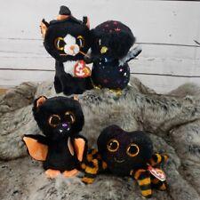 Ty Beanie boo Halloween plush decorations SPIDER CAT OWL BAT  A4