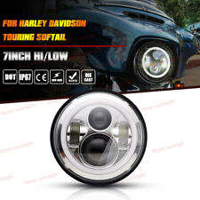 """7"""" LED Projector Chrome Halo Headlight Headlamp For Harley Electra Glide Ultra"""