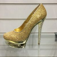 Ladies High Heel Shoes, Womans Bling Crystal Fancy Wedding Prom Heels, All Sizes