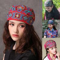 US Women Mexican Boho Ethnic Vintage Embroidery Flower Bandana Winter Hippie Hat