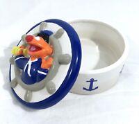 Sesame Street Jim Henson Ceramic Trinket Box Sailor Ernie #A19