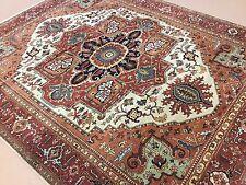 "Persian Oriental Rug Beige Rust Serapi Hand Knotted Wool 8'.2"" X 10'.0"""