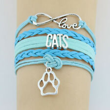 Love Cats Blue Leather Infinity Wrap Bracelet with Cat Paw Charm