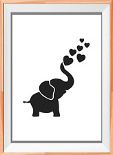 Elephant Kids Room Baby  A4 Mylar Reusable Stencil Airbrush Painting Art