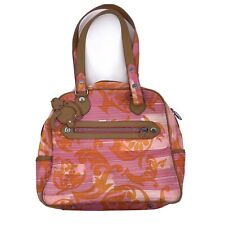 Kipling nylon shoulder bag purse Orange pink print hanging monkey