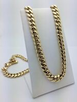 "Men's 14k Yellow Gold Heavy Solid Cuban Chain Link Necklace 31"" 10mm 224.1 grams"