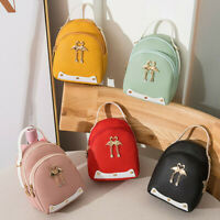 Fashion Women's Solid Color Leather Shoulder Bag Small Soft Hasp Casual Backpack
