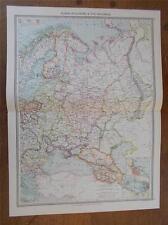 Antique c1904 colour map of RUSSIA IN EUROPE & THE CAUCASUS HARMSWORTH ATLAS