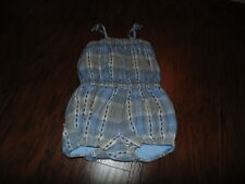 BABY GAP 6-12 BLUE PLAID ROMPER OUTFIT