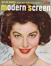 AVA GARDNER: Beautiful MODERN SCREEN Magazine Color Portrait Autographed