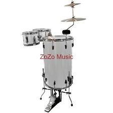 NEW GP PERCUSSION GP75 METALLIC SILVER COMPLETE COCKTAIL DRUM SET WITH CYMBALS