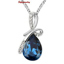 Silver Blue Sapphire Teardrop Necklace Made With Swarovski Crystal N196