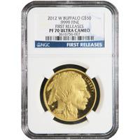 2012-W Proof $50 American Gold Buffalo 1 oz NGC PF70UC Blue FR Label