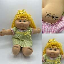 Rare 2004 Cabbage Patch doll Blonde hair green eyes CPK, green dress pink shorts