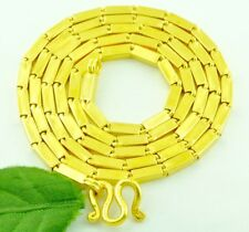9999 24K Solid Yellow Gold Handmade Baht Box Chain Necklace 32.70 Grams  24 inch
