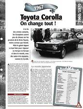 VOITURE TOYOTA COROLLA - FICHE TECHNIQUE AUTO 1967 COLLECTION CAR FRANCE