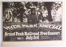 GRAND FUNK RAILROAD 1971  Advert CONCERT HYDE PARK