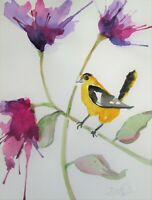 Finch flowers bird floral 12x9 watercolor painting art Delilah