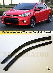 For Kia Forte Koup 2013-2016 Side Window Visors Sun Rain Guard Vent Deflectors