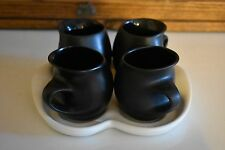 Peter Saenger Porcelain Mug & Tray Set, White /  Black - 8 oz