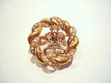 BELLE BROCHE ANCIENNE EN OR 18K PERLES ET ROSES DE PROVENCE or 18 carats