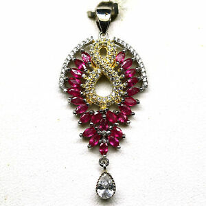 NATURAL PINK RUBY & WHITE CZ TWO TONE PENDANT 925 STERLING SILVER