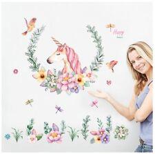 Unicorn Flower Bird Wall Sticker Decal Art Decor Kid Girl Room Bedroom Nursery
