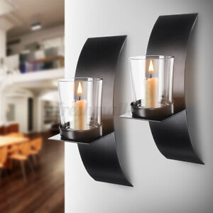 2Pcs Modern Wall Mounted Candle Holder w/ Glass Cup Sconce Home Decor z
