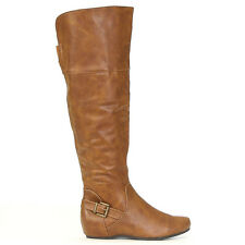 "Edge 1"" Hidden Wedge Heel Bronze Buckle Accent Knee High Boots Tan Sz 9"