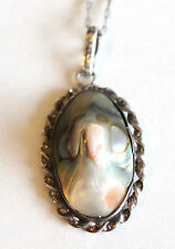 Antique Sterling Silver Abalone Blister Pearl Pendant