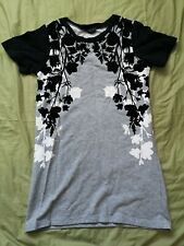 Topshop Women's Grey Black Velvet Floral Tunic Dress Size 10 Good Used Condition