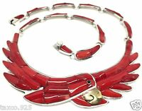 TAXCO MEXICAN 950 STERLING SILVER RED CORAL PARROT NECKLACE MEXICO