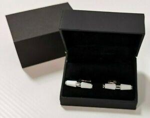 Genuine Jaguar Bar Cufflinks - White Enamel & Chrome Boxed -  50JJCLBAR