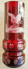 Original Bavaria Ruby Red 8'' Vase ''JOSKA'' ' Cut- to -Clear 24% Lead Crystal
