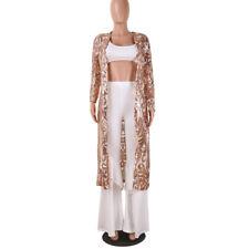 Plus Bohe Sexy Long Sequin Kimono Women Lace Cardigan Chiffon Blouse Coat US