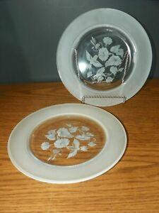 "2 ~ AVON HUMMINGBIRD Etched Crystal Luncheon Salad Dessert Plates 8"" France"