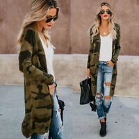 Hot Womens Leopard Kimono Cardigan Open Front Boho Camo Long Sleeve Maxi Jacket