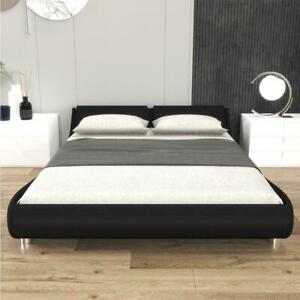 Twin Full Queen Faux Leather Platform Bed Frame & Slats Upholstered Headboard US