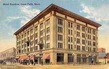 Great Falls Montana Hotel Rainbow Exterior Street View Antique Postcard K21964