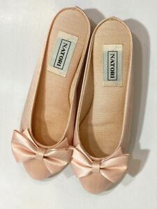 Natori Vintage Bow Slipper Shoes Wedge Bedroom Pinup Boudoir Pink XP 5 - 5.5
